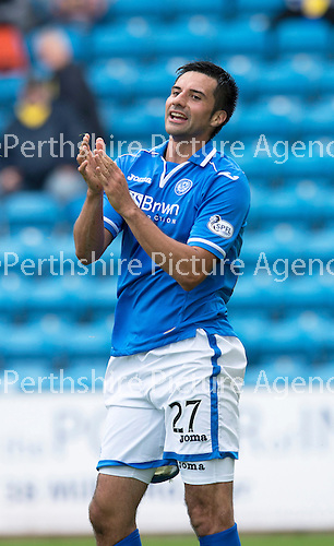 Kilmarnock v St Johnstone...11.08.13 SPFL<br /> Rory Fallon applauds Gwion Edwards cross<br /> Picture by Graeme Hart.<br /> Copyright Perthshire Picture Agency<br /> Tel: 01738 623350  Mobile: 07990 594431