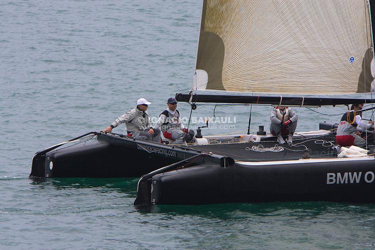 James Spithill, BMW Oracle Racing Team catamaran trainings in Velencia, 6/4/2009 Port America's Cup, Valencia, España