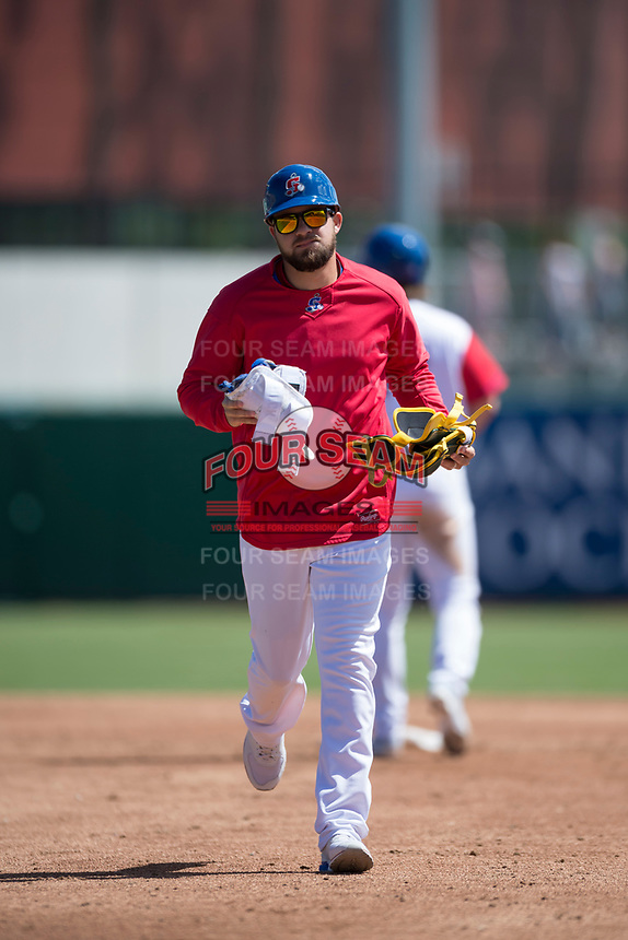 Stockton Ports coach Javier Goddard during a California League game against the San Jose Giants on April 9, 2019 in Stockton, California. San Jose defeated Stockton 4-3. (Zachary Lucy/Four Seam Images)