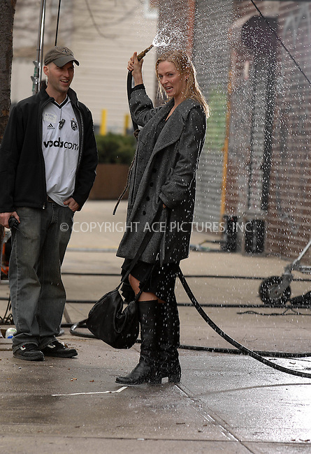 Uma  Thurman  filming  a rain  scene ACCIDENTAL HUSBAND   in  Queens   on March  14, 2007