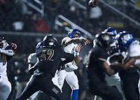 NWA Democrat-Gazette/CHARLIE KAIJO North Little Rock quarterback Kareame Cotton (4) passes, Friday, November 29, 2019 during the Class 7A semifinal at Bentonville High School in Bentonville.