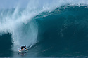 Fergal Smith negotiating his way at Pipeline on the North Shore in Hawaii