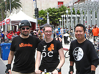 Me, Michelle, and George in front of LACMA's iconic Urban Lights installation at CicLAvia's June 2013 event on Wilshire Blvd.
