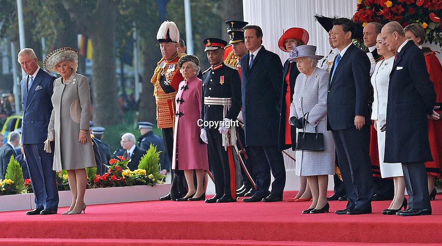 20.10.2015; London, England: PRINCE CHARLES AND CAMILLA STAND A DISTANT AWAY FROM PRESIDENT XI JINPING<br /> The Prince who has a close relationship with the Dalai Lama, is known to have a conflict of ideology with the Chinese regime.<br /> The Duke of Edinburgh, Prince Charles and Camilla,Duchess of Cornwall were present at the ceremonial welcome for the President of The People&rsquo;s Republic of China Xi Jinping and Madame Peng Liyuan.<br /> Mandatory Credit Photo: &copy;MoD/NEWSPIX INTERNATIONAL<br /> <br /> IMMEDIATE CONFIRMATION OF USAGE REQUIRED:<br /> Newspix International, 31 Chinnery Hill, Bishop's Stortford, ENGLAND CM23 3PS<br /> Tel:+441279 324672  ; Fax: +441279656877<br /> Mobile:  07775681153<br /> e-mail: info@newspixinternational.co.uk<br /> *All fees payable to Newspix International*