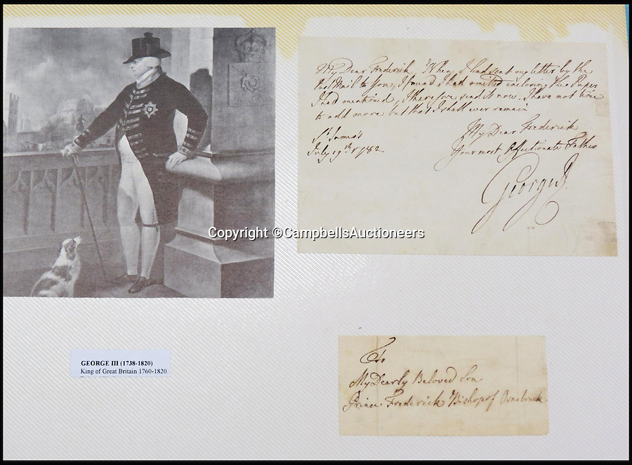 BNPS.co.uk (01202 558833)<br /> Pic: CampbellsAuctioneers/BNPS<br /> <br /> A signed letter from King George III to his son Prince Frederick, 1782.<br /> <br /> A magnificent collection of more than 1,000 signatures and letters from iconic historical figures including the Duke of Wellington, Picasso and Sir Winston Churchill have emerged for auction.<br /> <br /> The collection, which spans 300 years, was amassed by the late animal rights campaigner Jon Evans who meticulously framed or put the signatures in albums.<br /> <br /> Other famous figures in his collection include Charles Dickens, Sir Edmund Hilary, Mahatma Gandhi, Neil Armstrong, Lord Kitchener, Rudyard Kipling and Margaret Thatcher.<br /> <br /> The extensive array of documents is now expected to fetch &pound;30,000 at Campbells Auctioneers tomorrow (Tues).