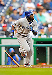 8 September 2011: Los Angeles Dodgers outfielder Tony Gwynn in action against the Washington Nationals at Nationals Park in Washington, DC. The Dodgers defeated the Nationals 7-4 to take the third game of their 4-game series. Mandatory Credit: Ed Wolfstein Photo