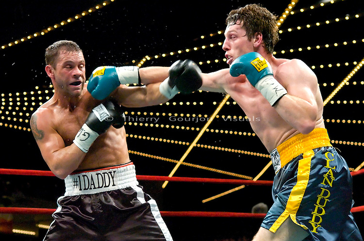 &quot;Ireland's&quot; John Duddy lands  on Anthony &quot;The Bullet&quot; Bonsante during their  IBA World &amp; WBC Continental Americas Middleweight Championship at the Garden in New York City on 03.16.07.<br />