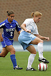 09 October 2005: North Carolina's Lori Chalupny (right) and Duke's Carmen Bognanno (left). The Duke Blue Devils defeated the #1 ranked Carolina Tar Heels 2-1 at Fetzer Field in Chapel Hill, North Carolina in a regular season Atlantic Coast Conference women's soccer game.