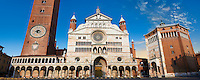 Romanesque facade & Baptistry of the Romanesque Cathedral of Cremona, begun 1107, with later Gothic, Renaissance & Baroque elements, Cremona, Lombardy, northern Italy