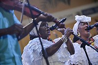 CALI - COLOMBIA. 14-08-2019: El grupo de músca autóctona Bongonero hace su presentación durante el primer día del XXIII Festival de Música del Pacífico Petronio Alvarez 2019 el festival cultural afro más importante de Latinoamérica y se lleva acabo entre el 14 y el 19 de agosto de 2019 en la ciudad de Cali. / The group makes its performance of autochthonous music Bongonero during the XXII Pacific Music Festival Petronio Alvarez 2019 that is the most important afro descendant cultural festival of Latin America and takes place between August 14 and 19, 2019, in Cali city. Photo: VizzorImage/ Gabriel Aponte / Staff