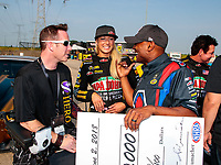 Jun 2, 2018; Joliet, IL, USA; NHRA top fuel driver Leah Pritchett (center) and Antron Brown during qualifying for the Route 66 Nationals at Route 66 Raceway. Mandatory Credit: Mark J. Rebilas-USA TODAY Sports