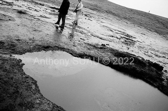 Tawke, Kurdistan.January 25, 2006..Crude oil seeps from the ground near the new DOA oil rig near the Tawke village, Kurdistan.