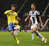 Leeds United's Tyler Roberts is pressured by West Bromwich Albion's Craig Dawson<br /> <br /> Photographer David Shipman/CameraSport<br /> <br /> The EFL Sky Bet Championship - West Bromwich Albion v Leeds United - Saturday 10th November 2018 - The Hawthorns - West Bromwich<br /> <br /> World Copyright © 2018 CameraSport. All rights reserved. 43 Linden Ave. Countesthorpe. Leicester. England. LE8 5PG - Tel: +44 (0) 116 277 4147 - admin@camerasport.com - www.camerasport.com