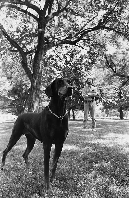 Kara and her owner Chris Corson at Lincoln Park. Chris and a few others working with National Park Service to designate an area in the Park for Dogs to run freely. (Photo by Maureen Keating/CQ Roll Call via Getty Images)