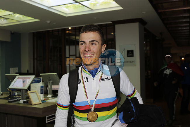 Samuele Battistella (ITA) wins the gold medal and is the new World Champion at the Men U23 Road Race of the UCI World Championships 2019 running 186.9km from Doncaster to Harrogate, England. 27th September 2019.<br /> Picture: Eoin Clarke | Cyclefile<br /> <br /> All photos usage must carry mandatory copyright credit (© Cyclefile | Eoin Clarke)