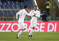 Calcio, Serie A: Roma vs ChievoVerona. Roma, stadio Olimpico, 22 settembre 2016.<br /> Chievo Verona's Jonathan De Guzman, right, celebrates with teammate Mariano Izco after scoring during the Italian Serie A football match between Roma and Chievo Verona, at Rome's Olympic stadium, 22 December 2016.<br /> UPDATE IMAGES PRESS/Isabella Bonotto