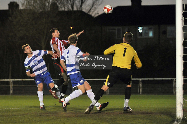Martin Tuohy (Hornchurch) heads in the first goal. AFC Hornchurch Vs Margate. Ryman Premier Division. The Stadium. Essex. 27/03/2012. MANDATORY Credit Garry Bowden/Sportinpictures - NO UNAUTHORISED USE - 07837 394578