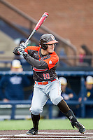 Bowling Green Falcons outfielder Matt Smith (10) at bat against the Michigan Wolverines on April 6, 2016 at Ray Fisher Stadium in Ann Arbor, Michigan. Michigan defeated Bowling Green 5-0. (Andrew Woolley/Four Seam Images)