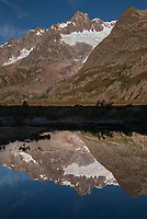 Mont Blanc reflected in the glassy waters of Lac Combal, September 2007