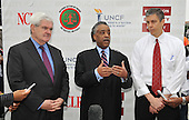 """Washington, DC - May 16, 2009 -- Former Speaker of the House Newt Gingrich (Republican of Georgia), left, Rev. Al Sharpton, President of National Action Network and Education Equality Project (EEP) co-founder, center, and U.S. Secretary of Education Arne Duncan, right, conduct joint a press conference at the """"Close the Gap: Education Equality Day"""" on the White House Ellipse in Washington, D.C. on Saturday, May 16, 2009..Credit: Ron Sachs / CNP.(RESTRICTION: NO New York or New Jersey Newspapers or newspapers within a 75 mile radius of New York City)"""