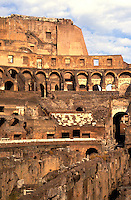 Roma Rome Italy the world famous Colosseum ruins in the center of the city close up of ruins insid