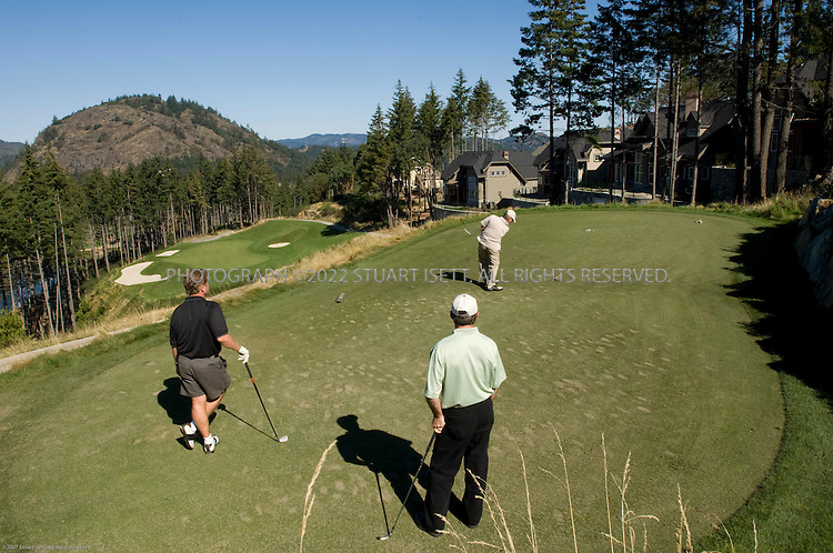 9/19/2007--Victoria, British Columbia, Canada.Opened in August, 2003, Bear Mountain Golf and Country Club,  designed by Jack Nicklaus and his son Steve on the northwest outskirts of Victoria. British Columbia, Canada, has turned Vancouver Island into one of Canada's top golf destinations..Carved through the ridges, woods and valleys of former timberland, Bear Mountain's 405-hectare site is owned by an investment group that includes former and current NHL players Len Barrie, Mike Vernon, Joe Nieuwendyk, Rob Blake, Scott Mellanby, Rob Niedermayer and Gary Roberts. The Nicklaus course is the centrepiece of a planned community that will grow, in several phases, to include luxury homes, townhouses, condominiums, and a village complete with specialty shops and restaurants. .©2007 Stuart Isett. All rights reserved