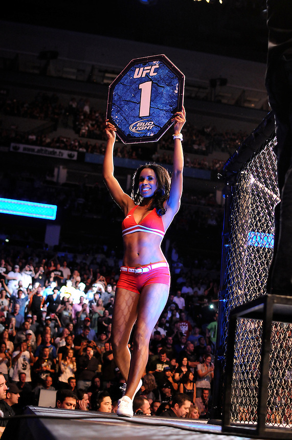 24 SEPTEMBER 2011:   The octagon girl announces round 1 of a bout  during UFC 135 at the Pepsi Center in Denver, Colorado. *****For Editorial Use Only*****