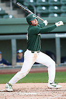 Designated hitter Andrew Morrow (14) of the Michigan State Spartans bats in a game against the Merrimack Warriors on Saturday, February 22, 2020, at Fluor Field at the West End in Greenville, South Carolina. Merrimack won, 7-5. (Tom Priddy/Four Seam Images)