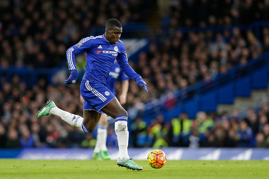 Chelsea's Kurt Zouma in action during todays match  <br /> <br /> Photographer Craig Mercer/CameraSport<br /> <br /> Football - Barclays Premiership - Chelsea v Manchester United - Sunday 7th February 2016 - Stamford Bridge - London<br /> <br /> &copy; CameraSport - 43 Linden Ave. Countesthorpe. Leicester. England. LE8 5PG - Tel: +44 (0) 116 277 4147 - admin@camerasport.com - www.camerasport.com