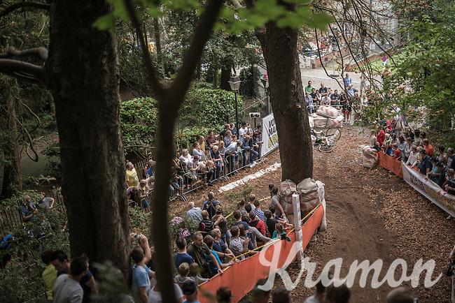 Kyle De Proost (BEL/U23) crashing after the streep downhill<br /> <br /> Brico-cross Geraardsbergen 2016