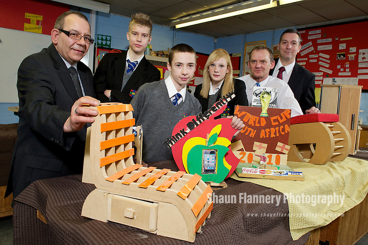 Pix: Shaun Flannery/shaunflanneryphotography.com...COPYRIGHT PICTURE>>SHAUN FLANNERY>01302-570814>>07778315553>>..16th March 2011..........Birley Manufacturing Limited..Supporting a school donation programme of wood offcuts to Handsworth Grange School, Sheffield..L-R Dennis Spears (glasses) of Birley Manufacturing Jack Patchett, Harry Kennedy, Imogen Shennett, teacher Rob Farnham and Richard Mayo of Birley Manufacturing..