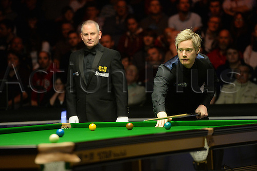 19.02.2016. Cardiff Arena, Cardiff, Wales. Bet Victor Welsh Open Snooker. Neil Robertson versus Ding Junhui. Neil Robertson after playing a safety shot.