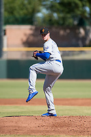Surprise Saguaros starting pitcher Scott Blewett (32), of the Kansas City Royals organization, delivers a pitch during an Arizona Fall League game against the Scottsdale Scorpions at Scottsdale Stadium on October 26, 2018 in Scottsdale, Arizona. Surprise defeated Scottsdale 3-1. (Zachary Lucy/Four Seam Images)