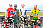Mike Nelligan Currow, Freddie O'Connor Scartaglen and John Daly resting at the Charlie Chaplin statue during their Ring of Kerry cycle on Saturday morning
