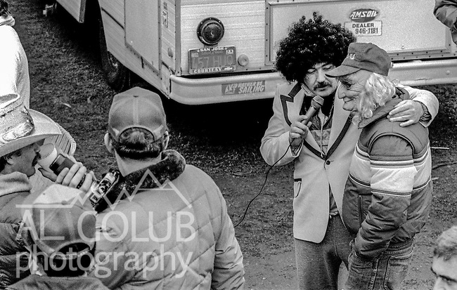 49ers fans play at doing interviews at the Super Bowl XIX tailgate on the Stanford University campus. The San Francisco 49ers defeated the Miami Dolphins 38-16 on Sunday, January 20, 1985.