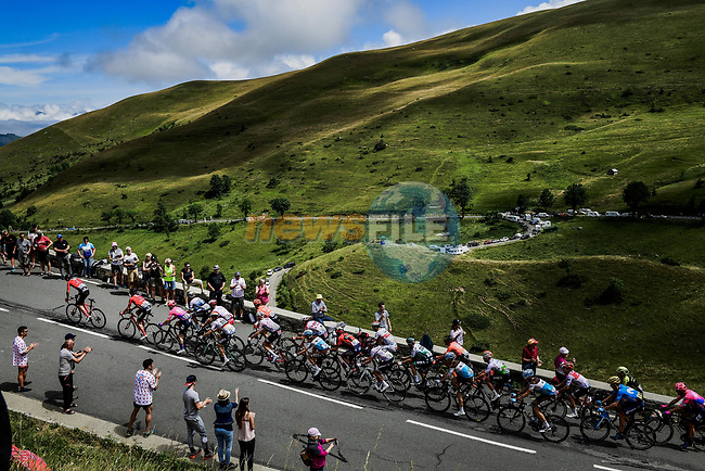 The 42 man breakaway group climb Stage 12 of the 2019 Tour de France running 209.5km from Toulouse to Bagneres-de-Bigorre, France. 18th July 2019.<br /> Picture: ASO/Pauline Ballet | Cyclefile<br /> All photos usage must carry mandatory copyright credit (© Cyclefile | ASO/Pauline Ballet)