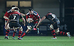 Blind-side flanker Paddy Butler of Munster Rugby is challenged by his opposite number Blind-side flanker James Thomas of Newport Gwent Dragons.<br /> <br /> Guiness Pro 12<br /> Newport Gwent Dragons v Munster Rugby<br /> Rodney Parade<br /> 21.11.14<br /> &copy;Steve Pope-SPORTINGWALES