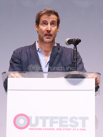 "LOS ANGELES, CA- Christopher Racster, At 2017 Outfest Los Angeles LGBT Film Festival - Closing Night Gala Screening Of ""Freak Show"" at The Theatre at Ace Hotel, California on July 16, 2017. Credit: Faye Sadou/MediaPunch"