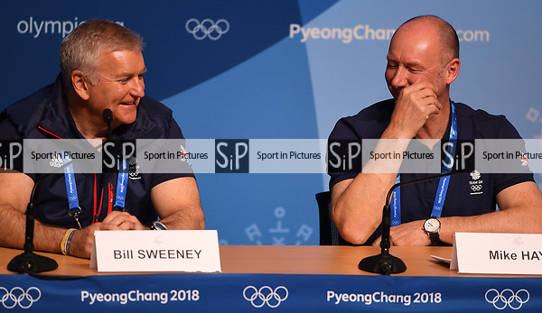 Bill Sweeney (BOA Chief Executive, left) and Mike Hay (TeamGB Chef de Mission for Pyeongchang2018) share a joke. TeamGB final press conference. Main press centre. Alpensia. Pyeongchang2018 winter Olympics. Republic of Korea. 25/02/2018. ~ MANDATORY CREDIT Garry Bowden/SIPPA - NO UNAUTHORISED USE - +44 7837 394578