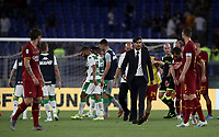 Football, Serie A: AS Roma - Sassuolo, Olympic stadium, Rome, September 15, 2019. <br /> Roma's players and coach Paulo Fonseca greet Sassuolo's players at the end of the Italian Serie A football match between Roma and Sassuolo at Olympic stadium in Rome, on September 15, 2019.<br /> Roma wins 4-2.<br /> UPDATE IMAGES PRESS/Isabella Bonotto