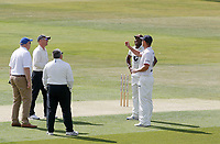 Tom Westley (right) of Essex and Daniel bell-Drummond of Kent contest the coin toss during Essex CCC vs Kent CCC, Bob Willis Trophy Cricket at The Cloudfm County Ground on 1st August 2020
