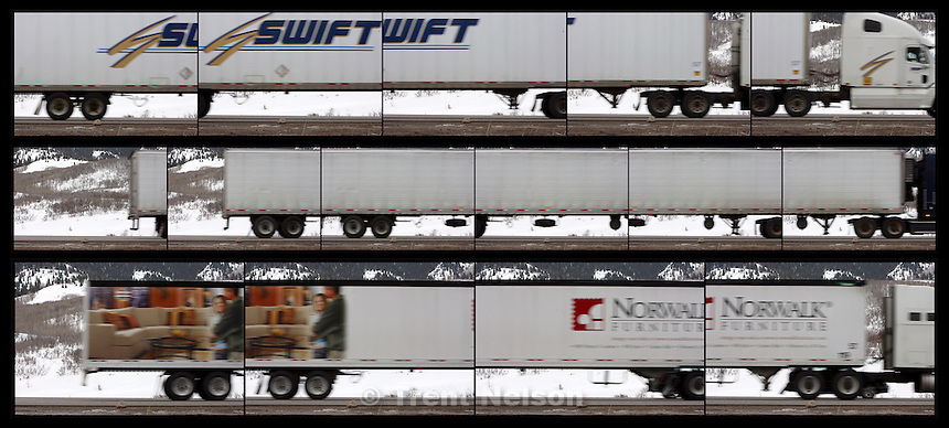 semi Trucks in Parley's Canyon.