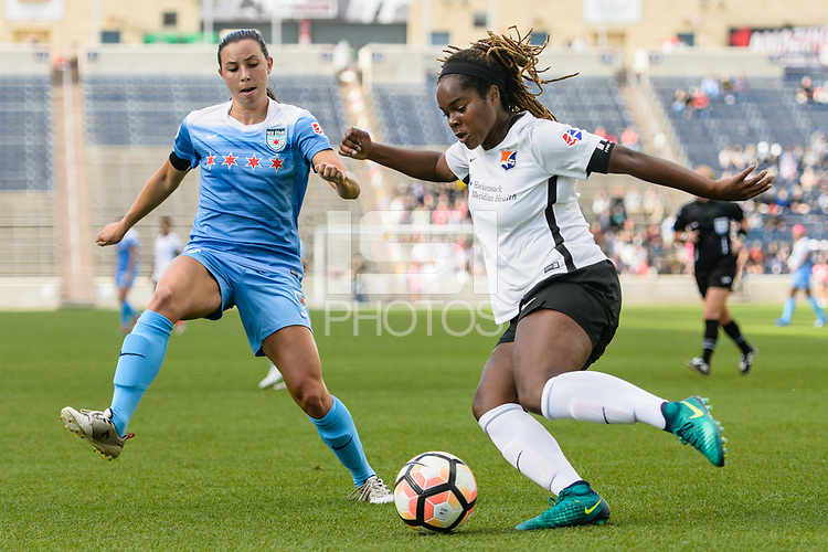 Bridgeview, IL - Sunday June 25, 2017: Vanessa DiBernardo, Kayla Mills during a regular season National Women's Soccer League (NWSL) match between the Chicago Red Stars and Sky Blue FC at Toyota Park. The Red Stars won 2-1.