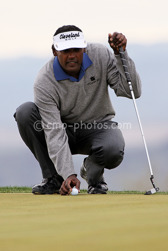 Feb 22, 2008; Marana, AZ, USA; Vijay Singh lines up a putt on the 3rd hole of his third round match against Rod Pampling (not pictured) at the Accenture Match Play Championship at the Gallery Golf Club.