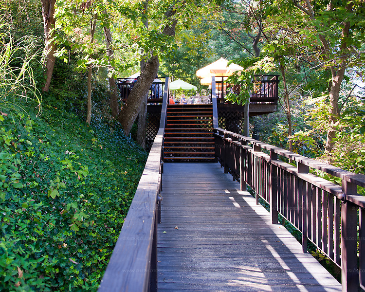 Tarara Winery's tasting room and deck are approached up stairs and along this elevated wooden walkway in the shade under trees.