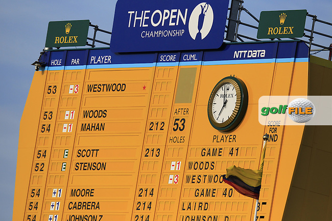 The 18th hole scoreboard during round 3 of  The 142th Open Championship Muirfield, Gullane, East Lothian, Scotland 20/7/2013<br /> Picture Eoin Clarke www.golffile.ie: