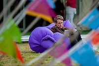 Wednesday  01 June 2016<br /> Pictured: A woman relaxes in an inflatable chair at the festival <br /> Re: The 2016 Hay festival take place at Hay on Wye, Powys, Wales