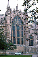 York: York Minster--East Facade, flat, light flooding the altar. Photo '87.