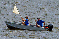 Team Dircksen raises the sail on their new tandem racing hull...   (Outboard Hydroplane)
