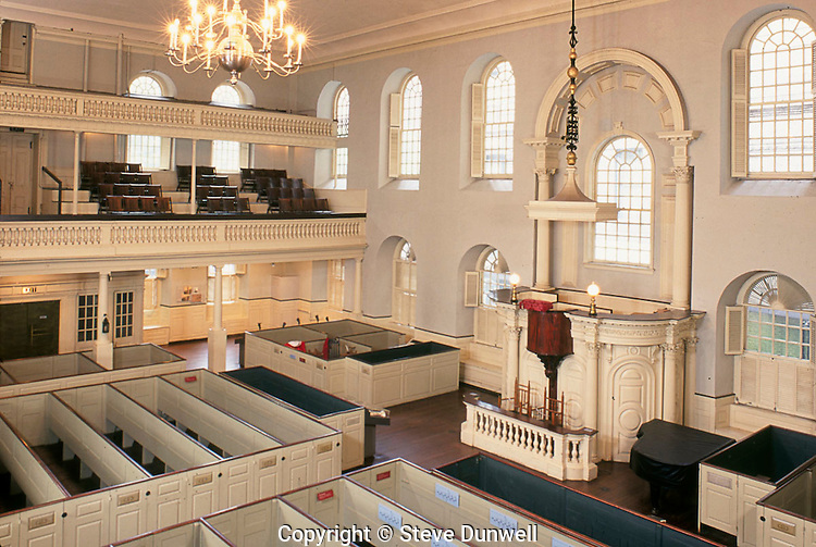 Old South Meeting House, Washington Street, Boston, interior, MA